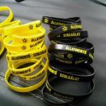 Szilikon csuklópántok sárga és fekete színben, áruk: 500 Ft / darab + 600 Ft postaköltség